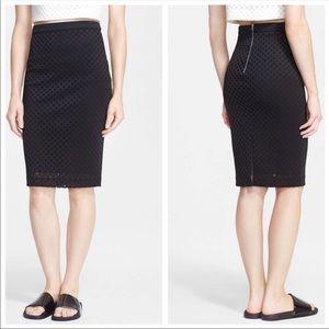 Elizabeth & James Lattice Pencil Skirt Black 2